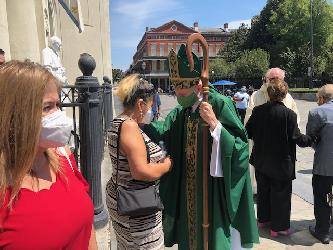 September 2020 Archbishop blessing evacuees